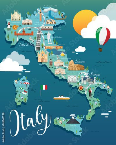 Italy map with attractive landmarks illustration.vector Fototapet