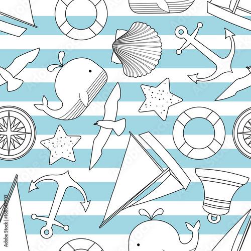 powtarzalny-wzor-w-stylu-marynistycznym-tlo-w-paski-niebieskie-i-biale-z-muszlami-statkie-ryba-kotwica