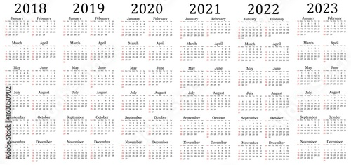 Fotografia  Six year calendar - 2018, 2019, 2020, 2021, 2022 and 2023 in white background