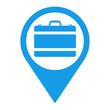 Icono plano localizacion maletin azul