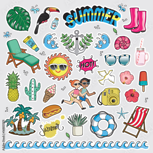 Poster Cartoon draw Vector illustration set of fashion patch badges. Cute sticker collection for summer.