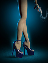 Sexy Killer With Blue High Heels Shoes And Gun