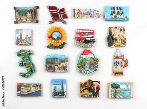 Photo  Souvenir magnets of the cities of Europe