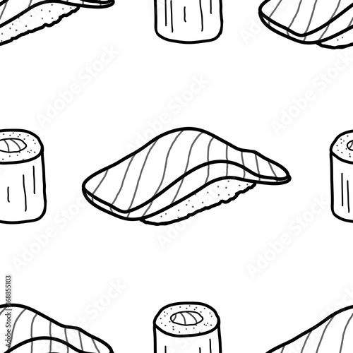 Salmon Sushi And Roll In Black Outline On White Background Cute
