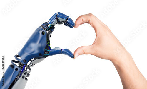 Photo Heart shaped by human and robot hands