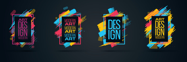 Vector frame for text Modern Art graphics for hipsters