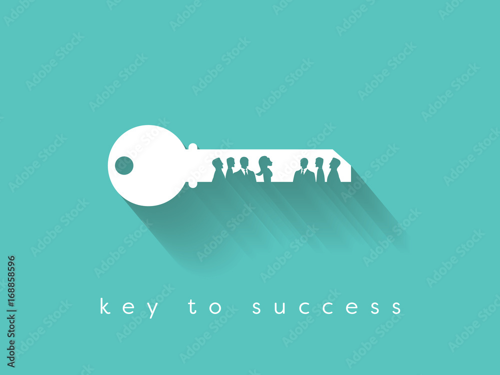 Fototapeta Key to success is in teamwork and communication business vector concept.
