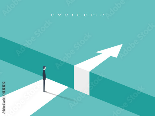 Foto Business challenge or obstacle vector concept with businessman standing on the edge of gap, chasm with arrow going through