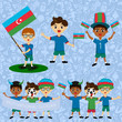 Set of boys with national flags of Azerbaijan. Blanks for the day of the flag, independence, nation day and other public holidays. The guys in sports form with the attributes of the football team