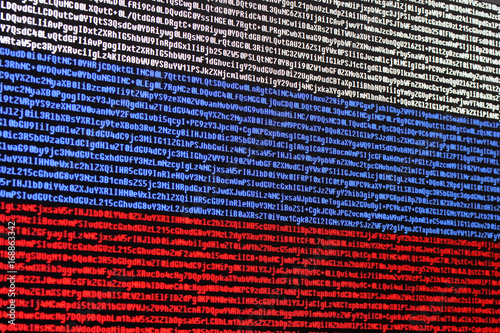Russian Flag Consisting Of Computer Code Symbols Buy This Stock