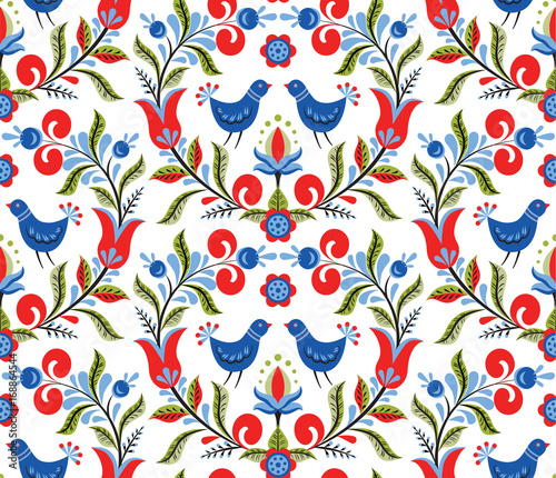 Valokuva  pattern with birds and flowers