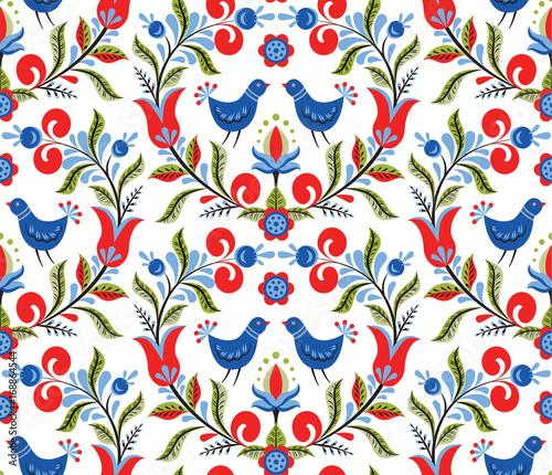 Fotografija  pattern with birds and flowers