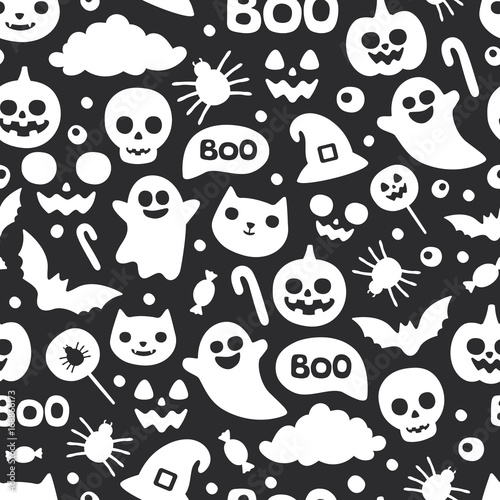 Vector Cute Seamless Halloween Pattern Smiling And Funny Cartoon Characters Pumpkin Ghost Cat Bat Candy Spider Wrapping Paper Wallpaper Repeating Background Black And White Buy This Stock Vector And Explore Similar