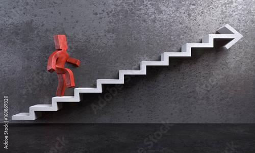 Knetfigur mit treppe aus Pfeil Aufstieg Wallpaper Mural