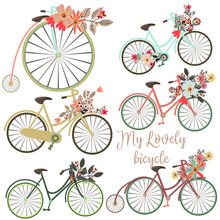 A Set Of Vector Cute Bicycles ...