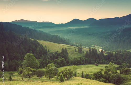 Foto op Canvas Beige Majestic sunset in the mountains landscape.