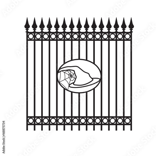 Forged iron fence with decorative element Halloween - witch