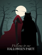 Little Red Riding Hood And Wolf In The Woods. Invitation To A Halloween Party
