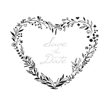 Romantic Floral Heart Frame