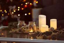 Table With Beautiful Christmas Decorations In Living Room