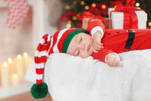 Cute Little Baby In Santa Cost...