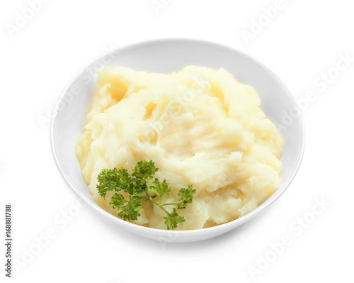 Photo Bowl with mashed potatoes on white background