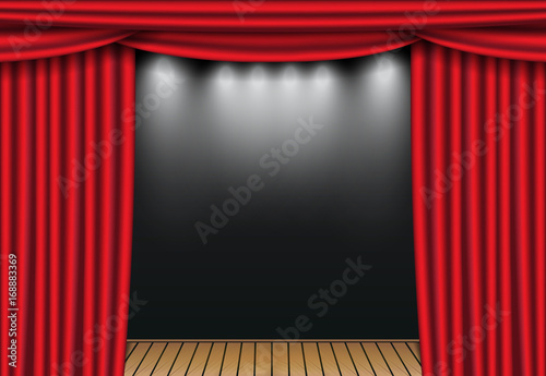Red Theater Curtains With Spotlight And Wooden Stage Open Velvet Drapes Vector Illustration