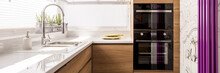 Designed Kitchen With White Gl...