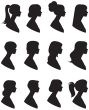 Set Of Vector Silhouettes. Portrait Of A Woman In A Profile With Different Hairstyles On A White Background.