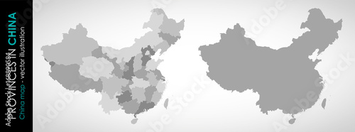 Vector map of China and provinces GRAY