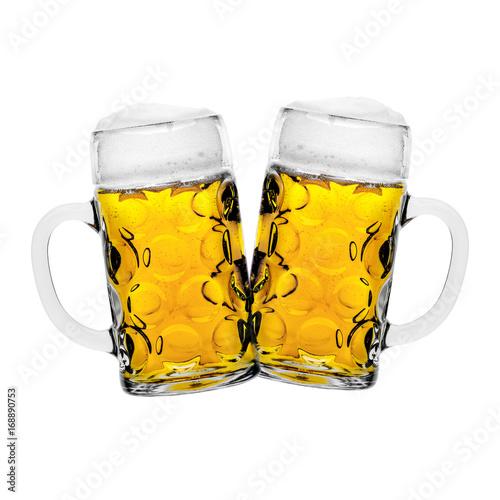 Montage in der Fensternische Bier / Apfelwein Zwei Maß Bier