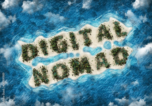 Fotomural Digital nomad written on exotic tropical island