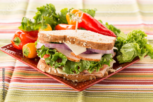 Foto op Canvas Snack Colorful Healthy Lunch Sandwich With Sweet Peppers On Plate