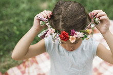 Girl And Floral Wreath.
