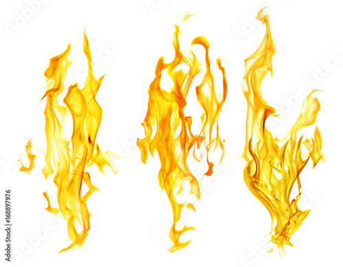 Fotobehang Vuur set of orange fire sparks on white background