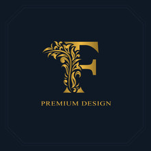 Gold Elegant Letter F. Graceful Style. Calligraphic Beautiful Logo. Vintage Drawn Emblem For Book Design, Brand Name, Business Card, Restaurant, Boutique, Hotel. Vector Illustration