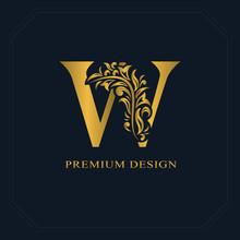 Gold Elegant Letter W. Graceful Style. Calligraphic Beautiful Logo. Vintage Drawn Emblem For Book Design, Brand Name, Business Card, Restaurant, Boutique, Hotel. Vector Illustration