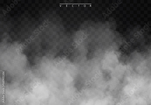 Poster Fumee Fog or smoke isolated transparent special effect. White vector cloudiness, mist or smog background. Vector illustration