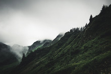 Gloomy Cloudy Rugged Mountain Landscape