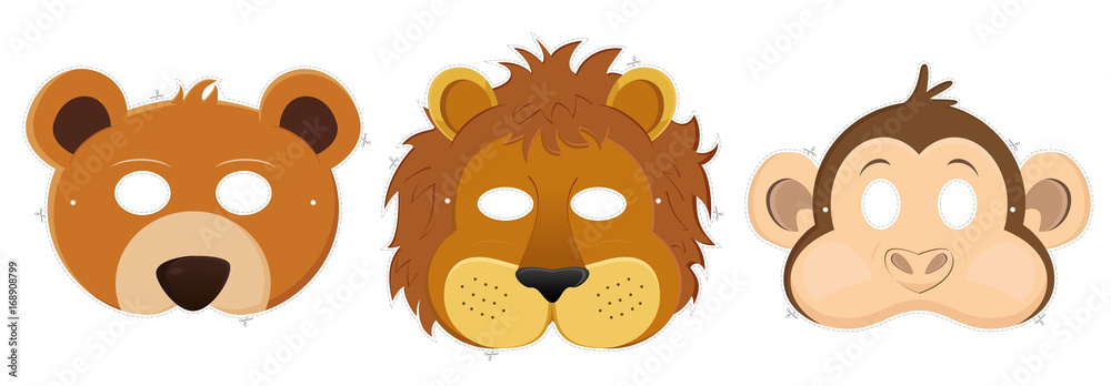 Fototapeta Carnival masks - bear, lion, monkey