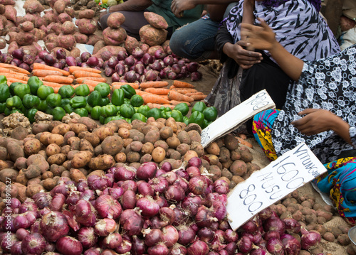 Sale of vegetables in the bazaar in East Africa. Selective focus.
