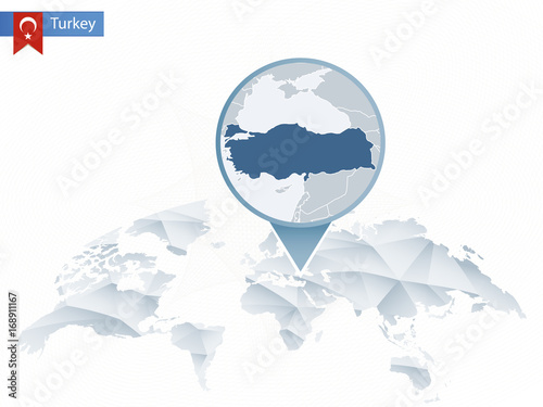 Abstract rounded World Map with pinned detailed Turkey map. – kaufen ...