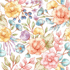 Panel Szklany Do sypialni Floral seamless pattern