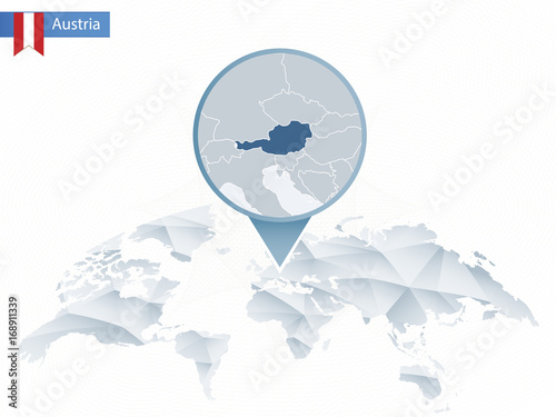 Abstract rounded World Map with pinned detailed Austria map ...