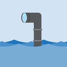 Metal Periscope Above The Water.