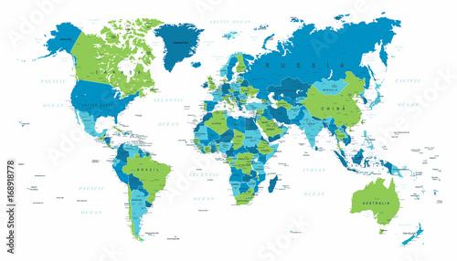 World Map Political Blue Green Vector