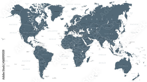 Recess Fitting World Map World Map Political Grayscale Vector