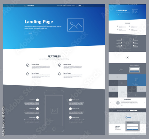 One page website design template for business. Modern landing page ...