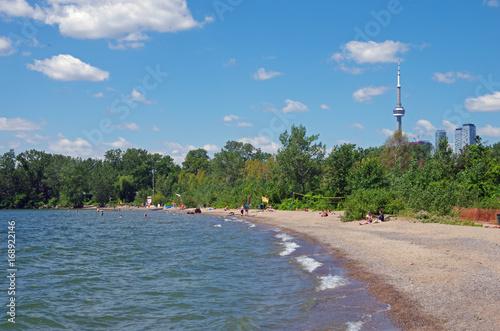 Ward's island beach cn tower toronto