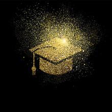 Graduation Cap Gold Glitter Sy...